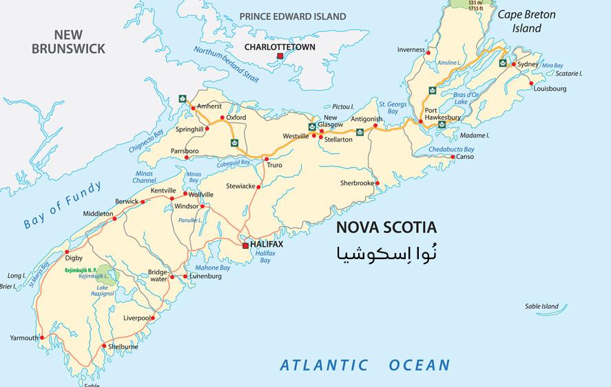 نقشه استان نوا اسکوشیا کانادا